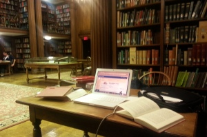 Late night paper writing at the Day Missions Room at Yale Divinity School.